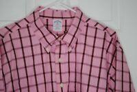 BROOKS BROTHERS Mens Pink Plaid Long Sleeve SLIM FIT Non-Iron Shirt sz 2XL EUC