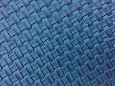 "Blue Basket Weave / Woven Upholstery Vinyl Fabric - Sold By The Yard - 54"" / 55"""