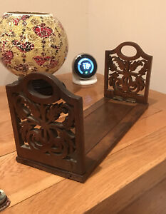 ANTIQUE - FOLDING EXTENDABLE MAHOGANY BOOK  STAND - CARVED FRETWORK DESIGN