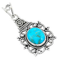 5.10cts Natural Green Kingman Turquoise 925 Sterling Silver Pendant P7650