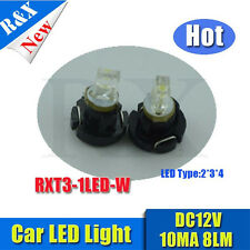 10pcs t3 led car light White wedge 1 led 12V DC Dashboard Interior Light Bulbs