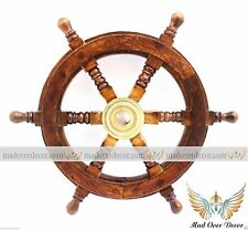 "12"" Ships Wheel ~ Wood / Brass ~ Nautical Maritime Decor ~ Pirate Captain"