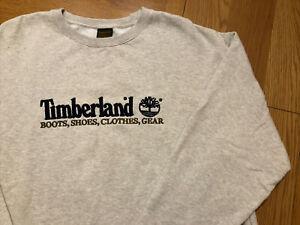 Timberland Vintage Size L Spellout Logo 90s Heather Grey Sweatshirt Jumper Top
