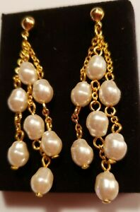 Multi Strand Pearlesque Illusion Pierced Earrings With Surgical Steel Posts