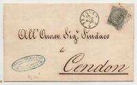 1867 LOMBARDO VENETO SU ITALIA CENT.5 TORINO N.T16 ISOLATO SU PIEGO DA TREVISO