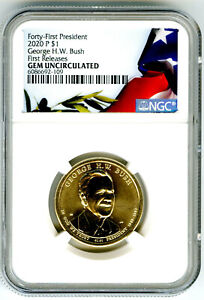 2020 P GEORGE H. W. BUSH  PRESIDENTIAL DOLLAR NGC GEM UNC FIRST RELEASES LOW POP
