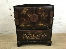 More details for lovely vintage chinese ebonised jewellery cabinet drawers box