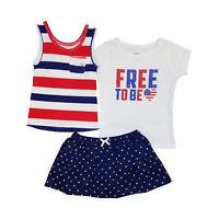 Carter's 3 Piece Americana Set Baby Girls - 4th of July Tank Top, T-Shirt, Skirt