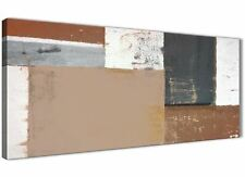 Brown Beige Grey Abstract Painting Canvas Art Print - Modern 120cm Wide - 1335