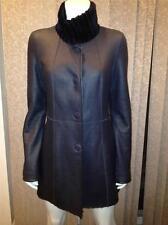 Escada Navy Blue Lambskin Shearling Fur  Reversible Jacket Coat Belt 34 $3625