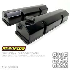 AEROFLOW FABRICATED ALLOY ROCKER COVERS [CHEVY SBC V8 307-327-350-400] BLACK