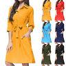 Women Plain Midi Dress 3/4 Sleeve Summer Casual Belted Button Down Shirt Dresses