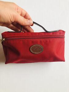 Longchamp Le Pliage Cosmetic Makeup Pouchette Red Leather Pouch Bag