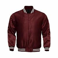 Letterman Baseball College Varsity Bomber Sports Wear Super Jacket Maroon Satin