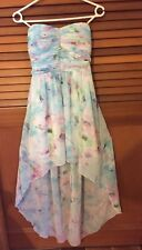 Size 8 Dotti pastel floral strapless chiffon evening cocktail dress gown