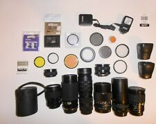 35mm camera lens lot zoom telephoto Vivitar Cannon Albinar Cimko filters more