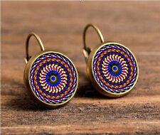 Mandala Bronze Glass cabochon 18mm handmade Earrings Jewelry GB12