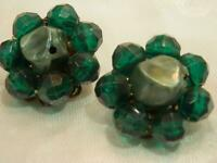 Vintage 1950's Deep Emerald Green Lucite Cluster Flower Clip On Earrings 501s9