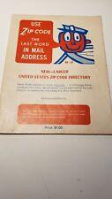 """VINTAGE 1960'S US POSTAL SERVICE ZIP CODE DIRECTORY """"MR. ZIP"""" RARE"""