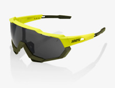 100% Speedtrap Soft Tact Banana Cycling Sunglasses, Black Mirror - Clear Lens