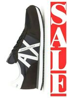 ARMANI EXCHANGE A|X LOGO Mens Retro Low Trainers Sneakers MIDNIGHT BLACK $140