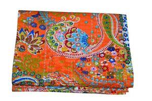 Indian Handmade Orange Twin Paisley Cotton Kantha Quilt Throw Blanket Bedspread