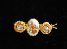 Floral PAINTED PORCELAIN oval clear rhinestone metal hair clip BARRETTE