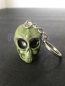 1PC Alien Skull Head Keychain Ring 3D Alien Head Green - Ovni UFO
