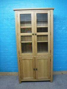 CHUNKY SOLID OAK WOOD 4DOOR BOOKCASE DISPLAY CABINET H181 W90 D39cm- SEE SHOP