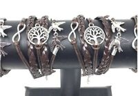 Braided Brown Leather Tree Of Life, Infinity & Doves Charms Bracelet New
