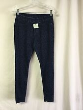 NWOT Women's Hue Leopard Flocked Print Denim Leggings Size Small Blue #676P