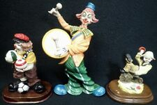 lot of (3) vintage larger circus clowns collectible resin clown figurines