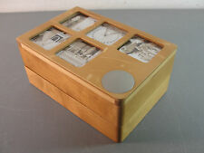UMBRA WOOD PICTURE PHOTO JEWELRY STASH BOX CONTAINER SWIVEL TOP TWO COMPARTMENTS