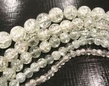 230 perles de verre blanc Crash Crackle Perles 3 STRANGE Rond 4 mm 6 mm 8 mm Best d49