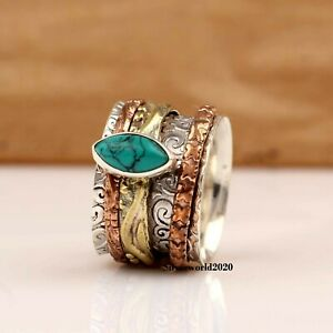 Turquoise Ring Spinner Ring 925 Sterling Silver Ring Handmade Size O Ms112