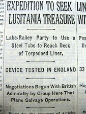 1931 NY Times newspaper w 1st attempt to SALVAGE the WRECK of the RMS LUSITANIA