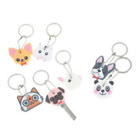 Puppy Pug Cat Rabbit Key Cover Cap Keychain Key Ring PVC Key Case Unisex Gift NT