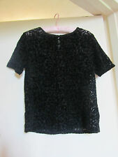 Black See Through D Perkins Short Sleeve Top in Size 10