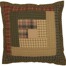 TEA CABIN Patchwork Pillow Filled Log Cabin Block Green/Tan Lodge 12x12 VHC