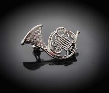 Crystal Brooch French Horn