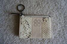 Coach Signature Python Snake Skin Leather Keychain Id Slim Case Ivory Wallet Bag