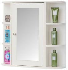 White Wall Mounted Bathroom Storage Cabinet Organizer, Mirrored Vanity Medicine