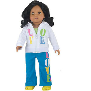 I Love Yoga 4pc Set Hoodie/Top/Pants/Shoes Fits 18 inch American Girl Dolls