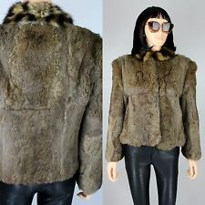 Womens Fur Brown Genuine Rabbit Crop Coat Winter Outerwear Vintage Bomber S/M