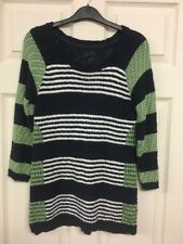 Per Una Ladies Jumper Size 10 Striped Navy Blue Green White Textured
