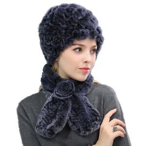 Winter Fur Scarf and Hats Sets Women Real Rex Rabbit Fur Cap Warm Fluffy Soft