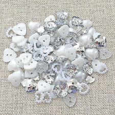 100 Mix Sparkly Silver/White Resin Heart Flatback Craft Cardmaking Embellishment