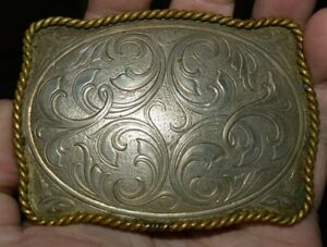 Nice Western MONTANA SILVERSMITHS Cowboy Roped Edge Silver Plated Belt Buckle