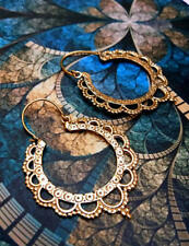 GEORGEOUS BRASS TRIBAL BOHO EARRING MANDALA GYPSY HOOP ETHNIC EARRINGS HANDMADE
