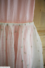 Vintage French CHILD DRESS FULL jupon SILK embroidered GAUZE c1930
